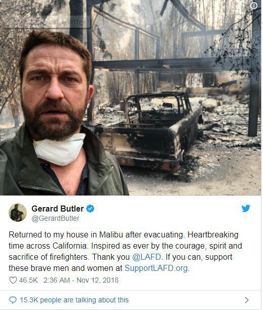 加州山火肆虐多位明星住宅被毀 有人指責氣候變化