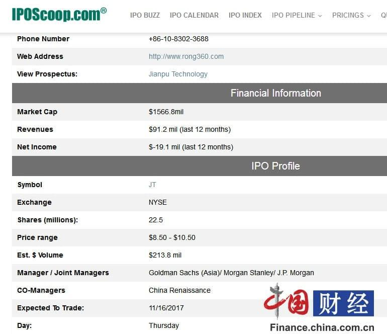 融360将于10日登录纽交所 最高募资2.138亿美元