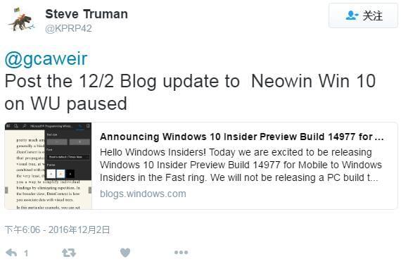 """微软""""暂停""""为PC推送Windows 10 Insider预览版的照片 - 2"""