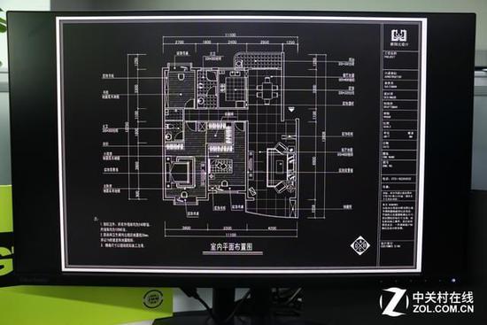 2775的27英寸2k高分屏幕在cad工程制图的演示中能够