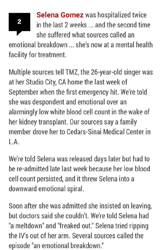 曝赛琳娜精神崩溃住院治疗. 患减少并发症