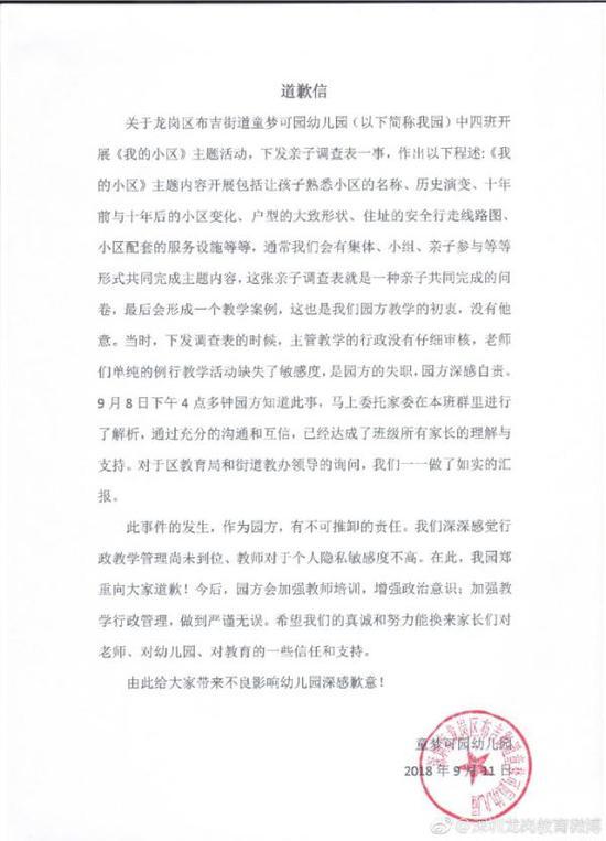 深圳一幼儿园调查学生家房价户型 教育局:已中止