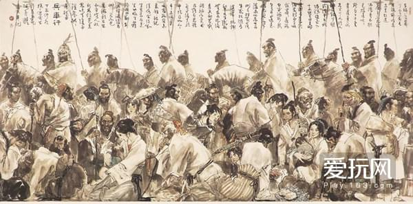 19源自杜甫《兵车行》的国画,兵徭也是徭役的一类,百姓深受其苦