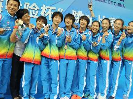 河北女队先拔头筹夺得女子跳水团体赛金牌