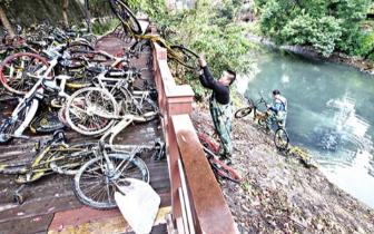 西河捞起40多辆共享单车 单车沉没在管道出水口