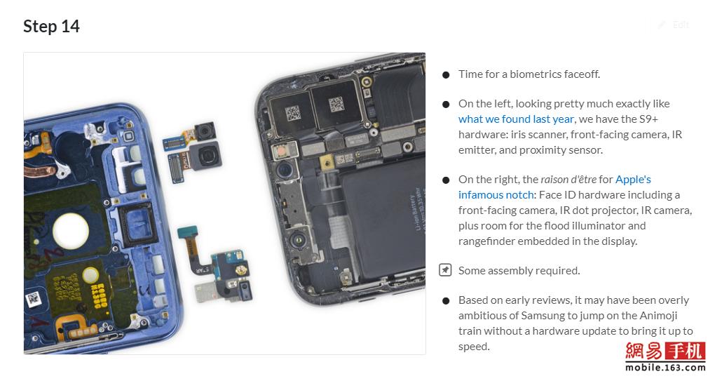 iFixit拆解三星S9:可修复指数4分/组件独立更换