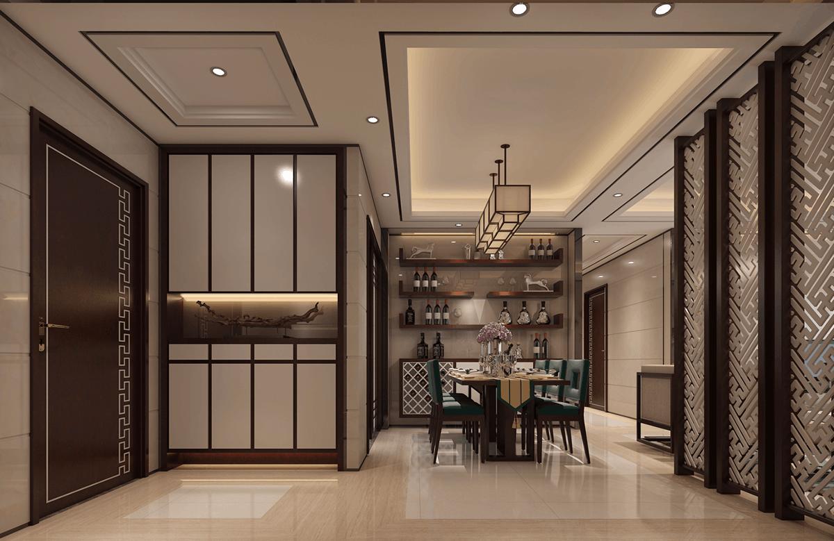 卢浮公馆155㎡三居室新中式效果图