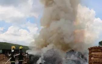 木材加工厂突发大火 防城港消防鏖战8小时