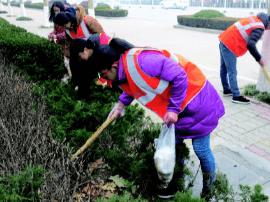 大学生帮环卫工打扫卫生 引发路人围观点赞
