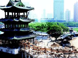 中式亭楼引瞩目 迎泽公园于国庆前后开放