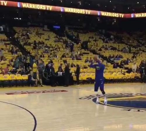 【影片】Curry狀態幾乎完全恢復參與賽前熱身 輕鬆中LOGO SHOT