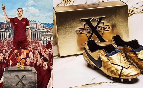 托蒂效力罗马25周年 专属限量版金色战靴