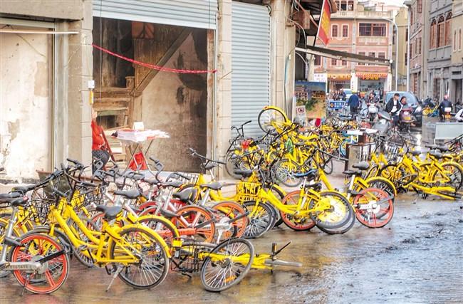 """共享单车乱停成老城另类""""景点"""""""
