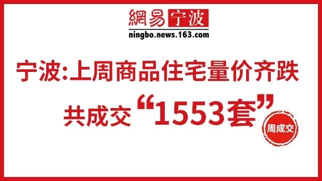 宁波上周成交商品房1553套 量价齐跌!