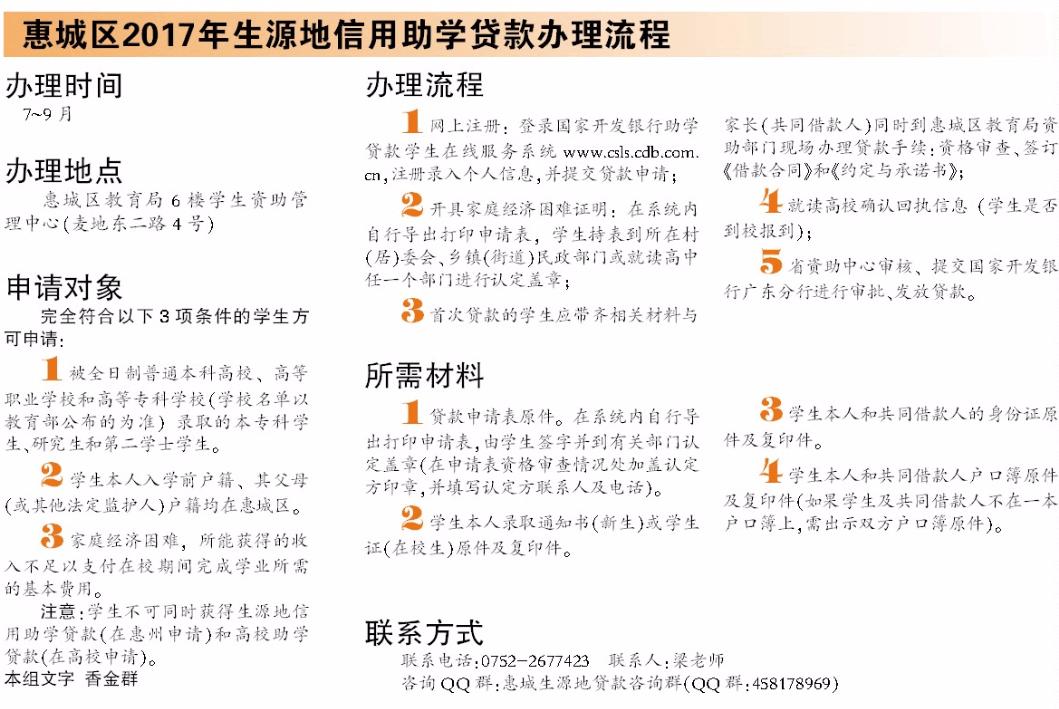 好消息!惠州贫困大学生可在生源地申请助学贷款啦