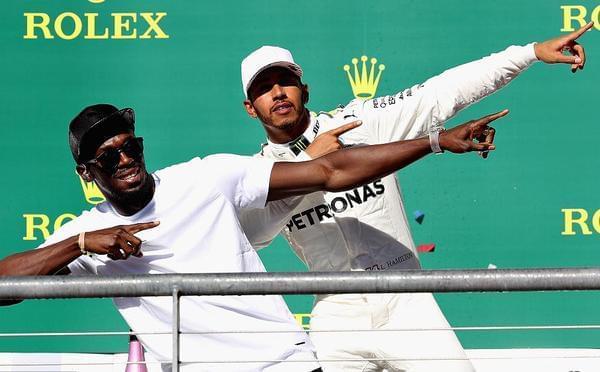 博尔特美国观战F1 领奖台上带汉密尔顿节奏