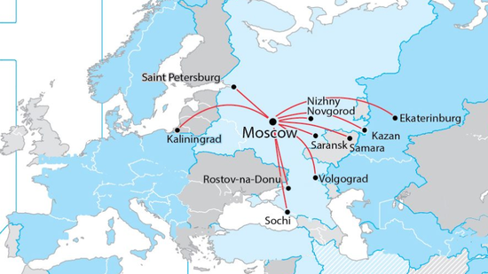 俄罗斯世界杯举办城市的分布
