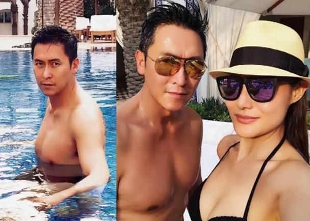 马德钟与太太泳池戏水庆24周年 妻子身材火辣