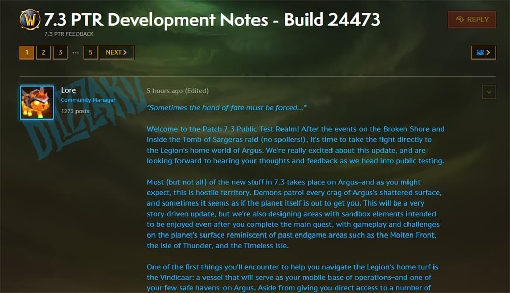 魔兽7.3PTR开发日志:阿古斯还有更多新内容