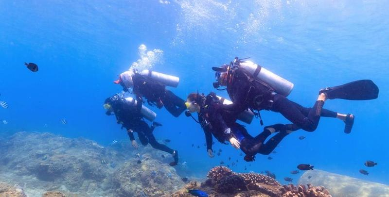 水下拍摄游客在陵水分界洲岛体验潜水