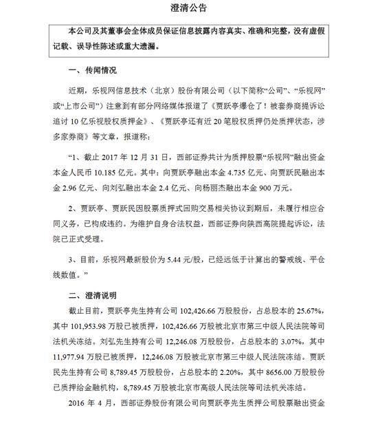 乐视网公告:贾跃亭所有股票质押式回购交易均已违约