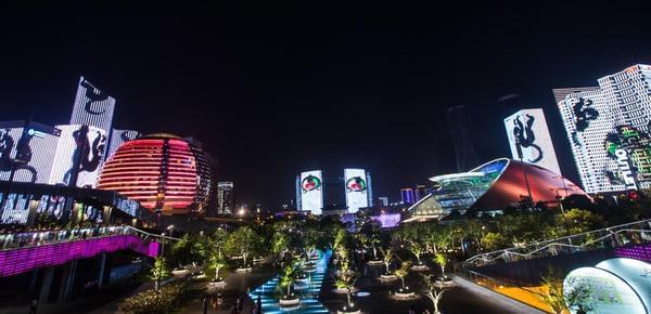 杭州迎G20 钱江新城亮起炫目灯光秀
