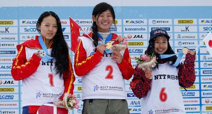 亚冬会中国分获单板滑雪男女U型池冠军