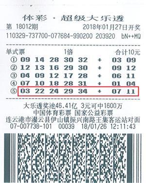 大乐透奖池升至50.74亿 连云港彩民领走821万大奖