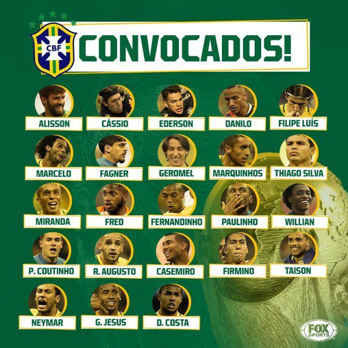 巴西世界杯23人正式名单:内马尔保利尼奥奥古斯托
