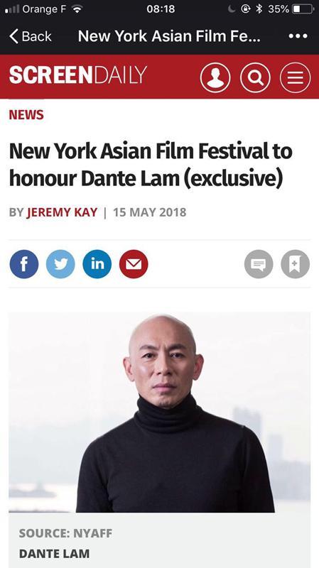 林超贤斩获最佳动作导演奖 将赴纽约亚洲电影节