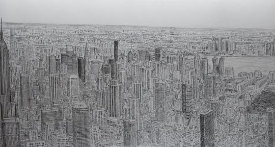 男子乘机飞45分钟后凭记忆画纽约全景