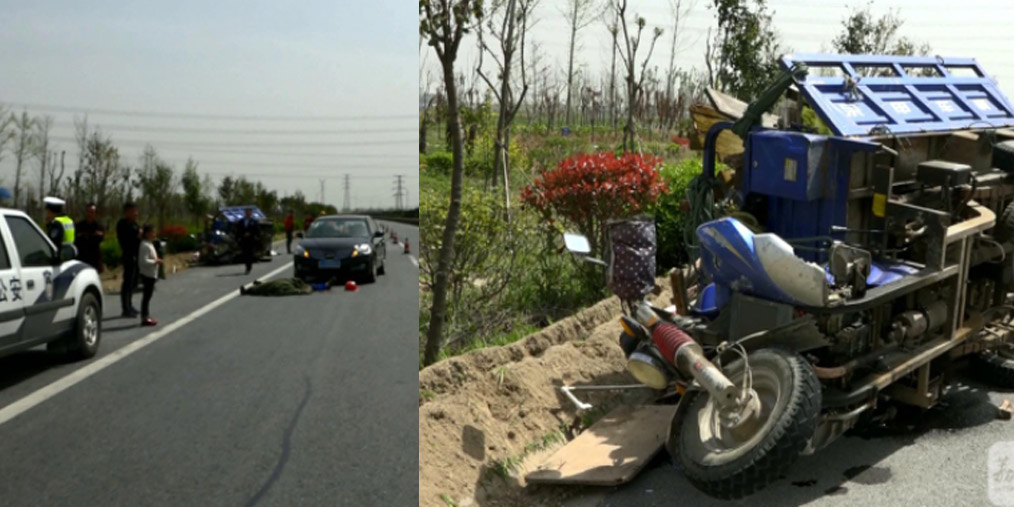 三车连环相撞 一男子掉落遭碾压身亡