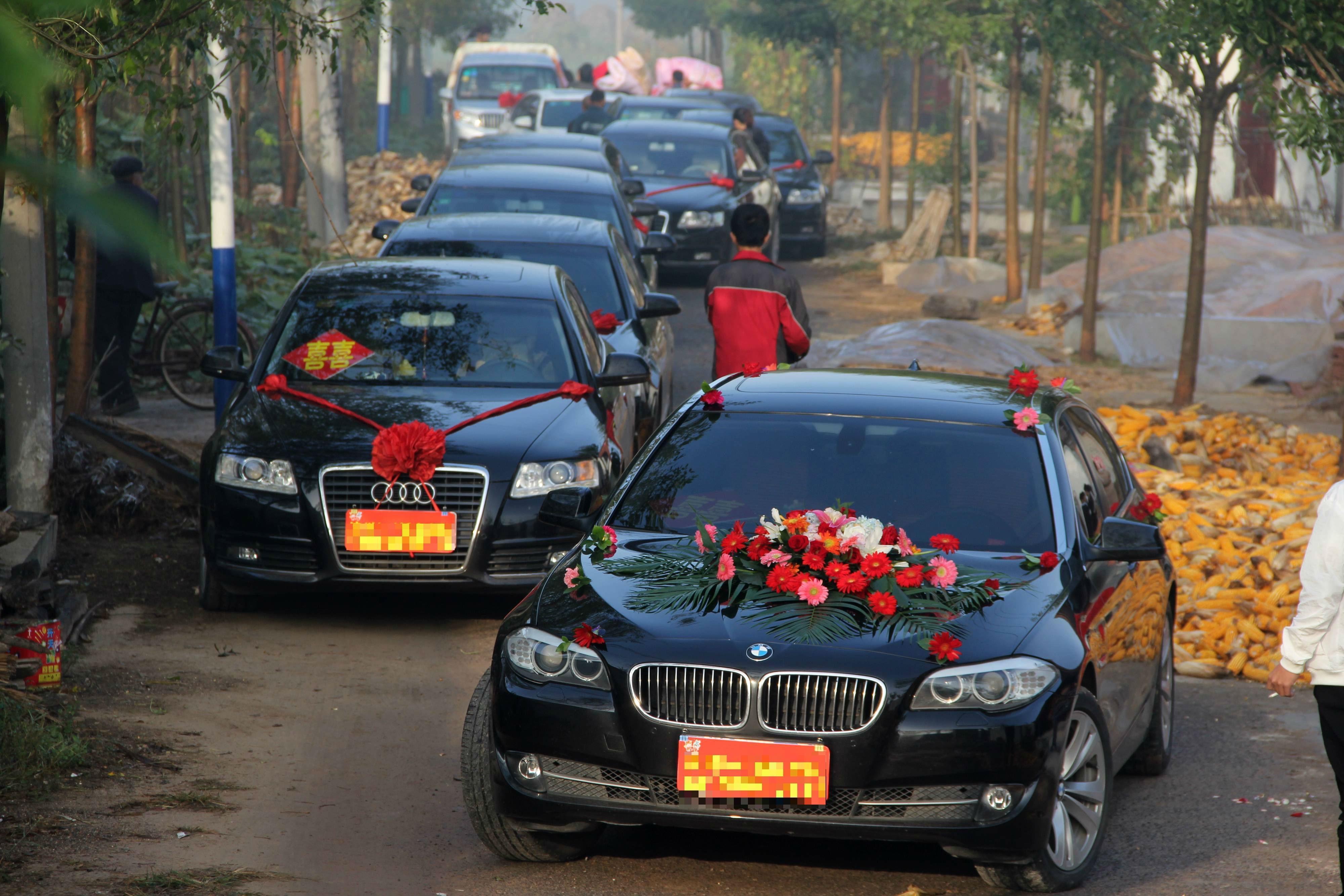 2016年10月8日,山东滨州,一场农村婚礼上的豪华迎亲车队。/视觉中国