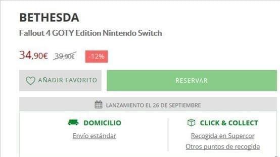 西班牙网站惊现Switch《辐射4》年度版