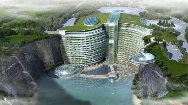 巨石坑变成五星级酒店