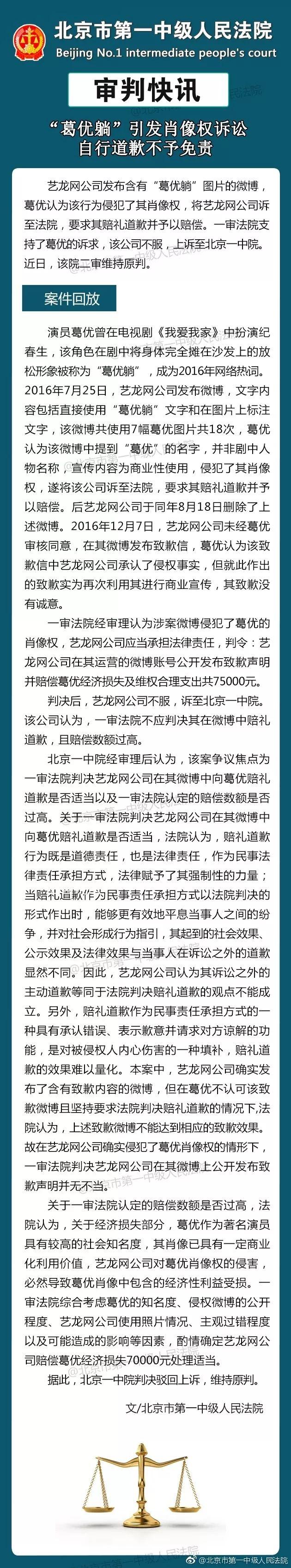 葛优躺表情包引发肖像权诉讼:艺龙网赔偿7.5万