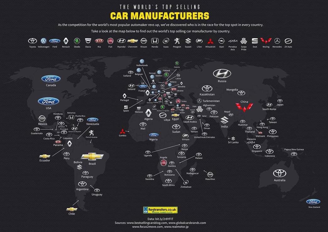 一图看2016汽车销售格局:大众最多 丰田称霸49国