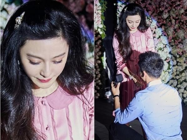 李晨单膝跪地求婚后 一向霸气的范冰冰感动流泪