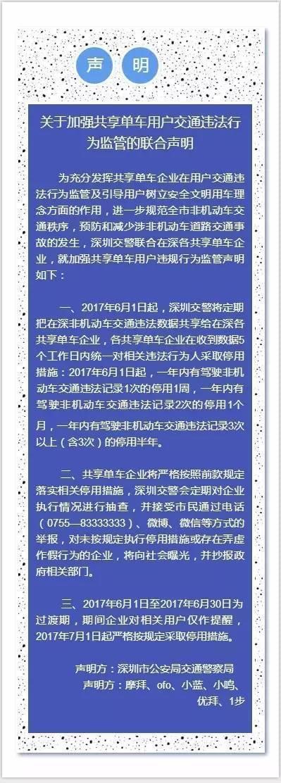 深圳开首批共享单车禁骑令 万人被禁骑一周