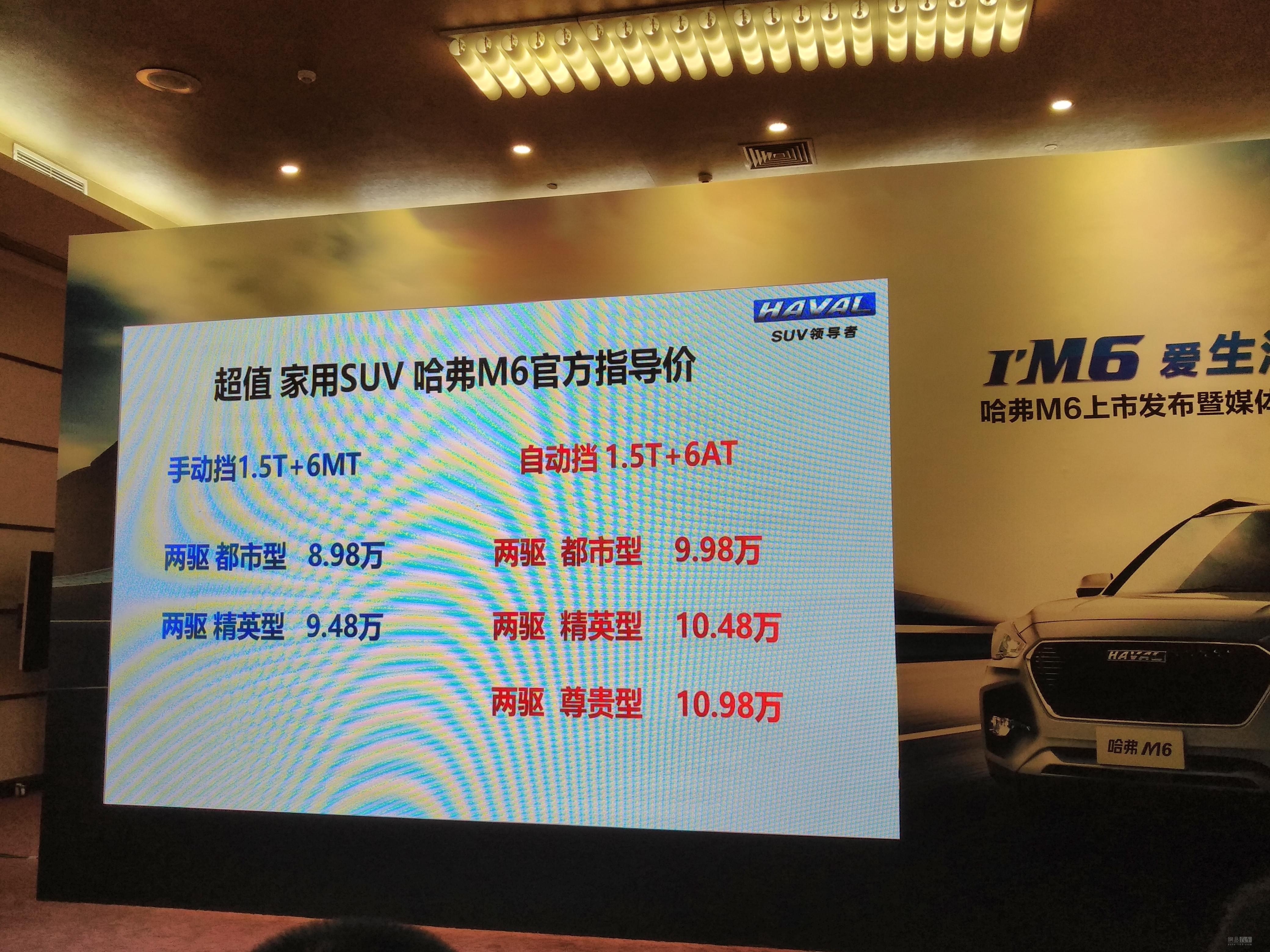 售价8.XX-X.XX万元 哈弗M6正式上市