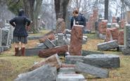 美国犹太人墓园墓碑遭破坏