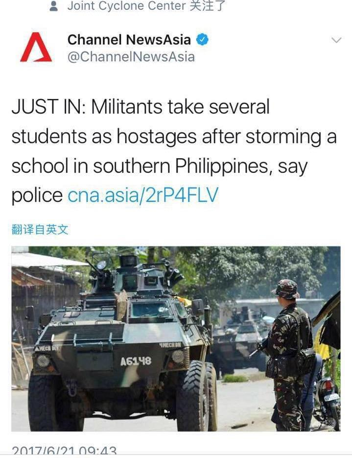 激进分子袭击菲律宾南部学校 多名学生被扣为人质