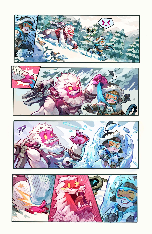 守望先锋新漫画《雪人大作战》:温斯顿之死破案了