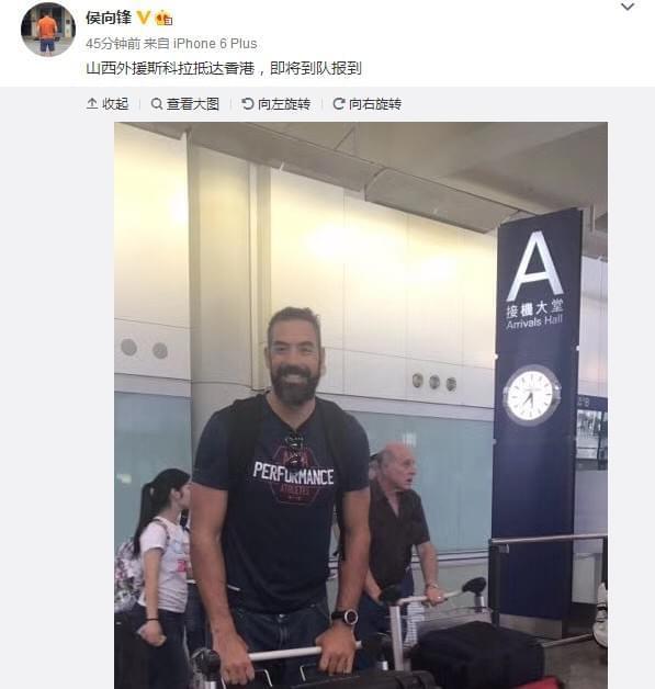 CBA知名度最高新援抵达香港 这造型你认出他了吗