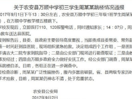 农安县公安局:万顺中学初三学生跳楼情况通报