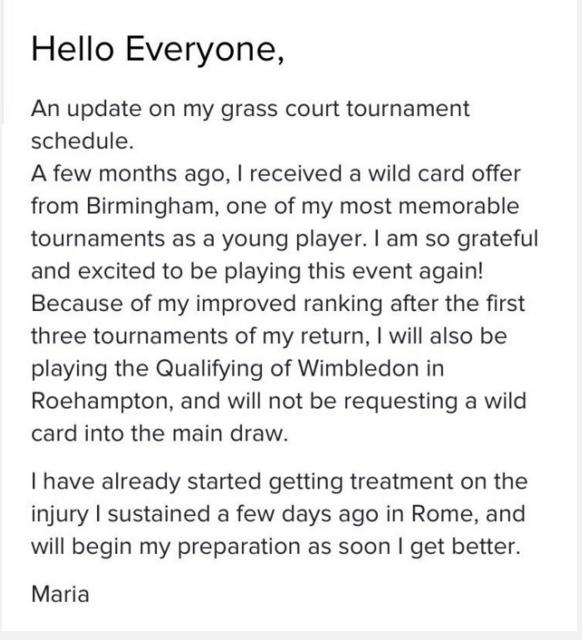 莎娃宣布放弃申请温网外卡:做好准备出战资格赛