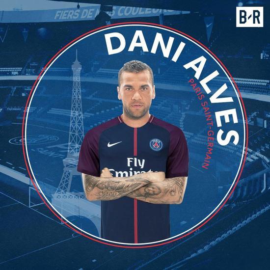 巴黎宣布签约阿尔维斯2年 自由身加盟周薪23万镑