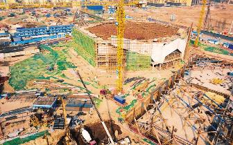 滨河体育中心改造扩建工程开足马力加紧施工