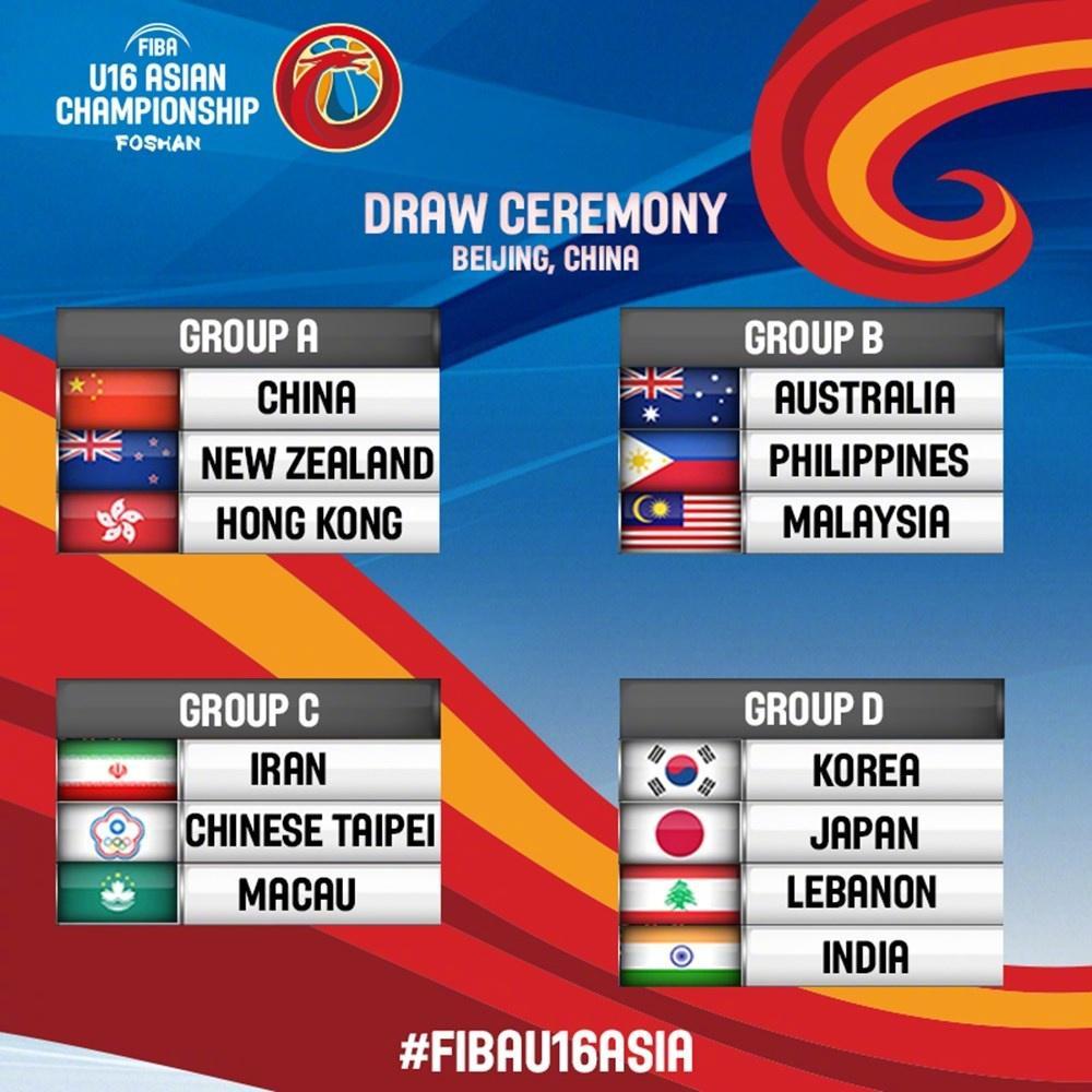 U16男篮亚锦赛抽签 中国与新西兰+中国香港同组