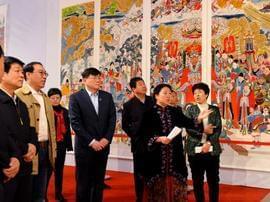 画家梅莹广胜寺壁画临摹作品展洪洞开展